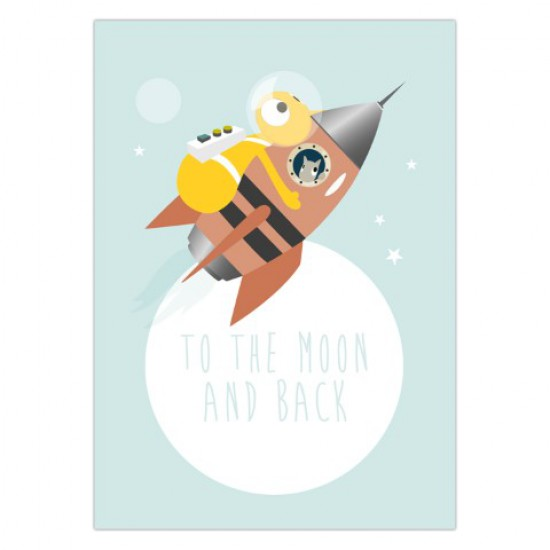 Kaart 'To the moon and back'