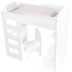 Doll's Loft Bed with Desk, white