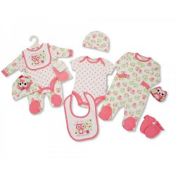Baby Girls 6 pcs Gift Set - Owl