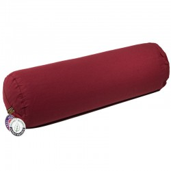 Bolster round red organic cotton -- 60x16 cm