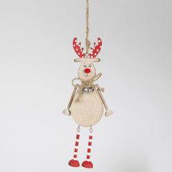 RUDI REINDEER IN STRIPEY STOCKINGS HANGING DECORATION